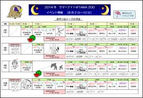 「サマーナイト@TamaZoo 2014」8/2〜8/10のイベント情報チラシ